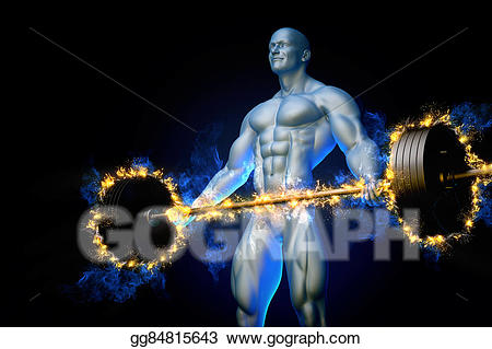 Barbell clipart bodybuilding. Stock illustration bodybuilder with