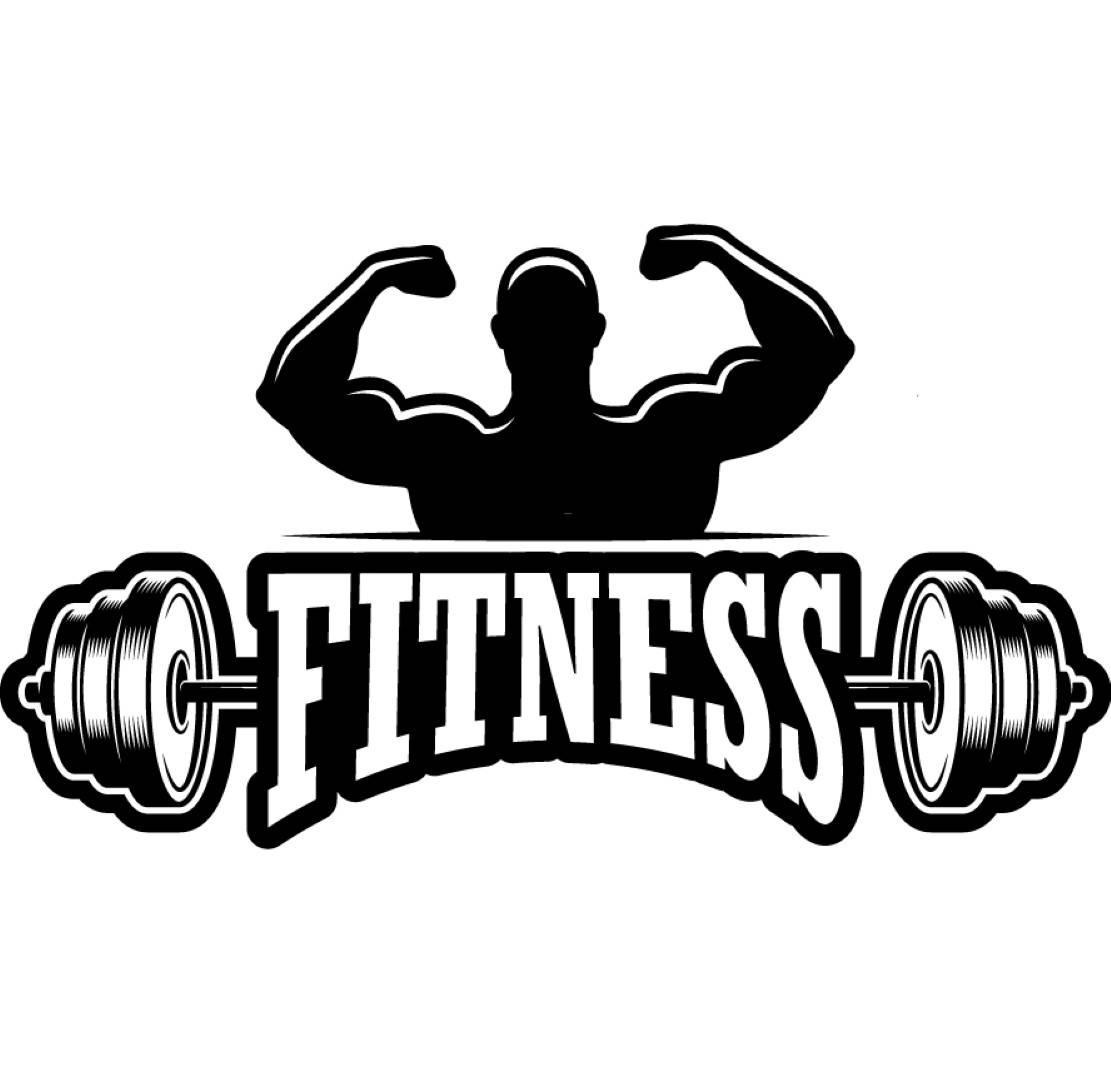 Logo bodybuilder bar weightlifting. Barbell clipart bodybuilding