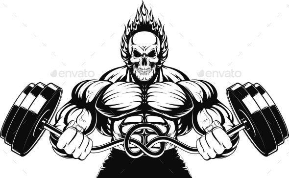Barbell clipart bodybuilding. Vector illustration of a