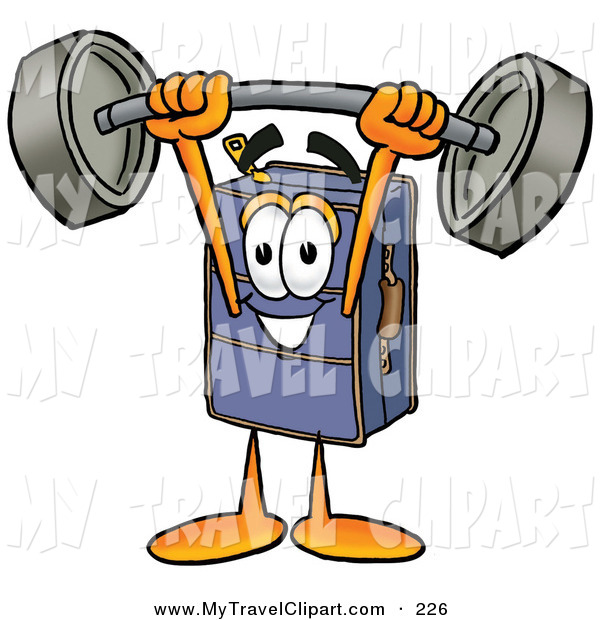 Barbell clipart cartoon. Of a happy suitcase