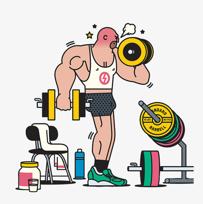 Barbell clipart cartoon. Fitness man weightlifting png