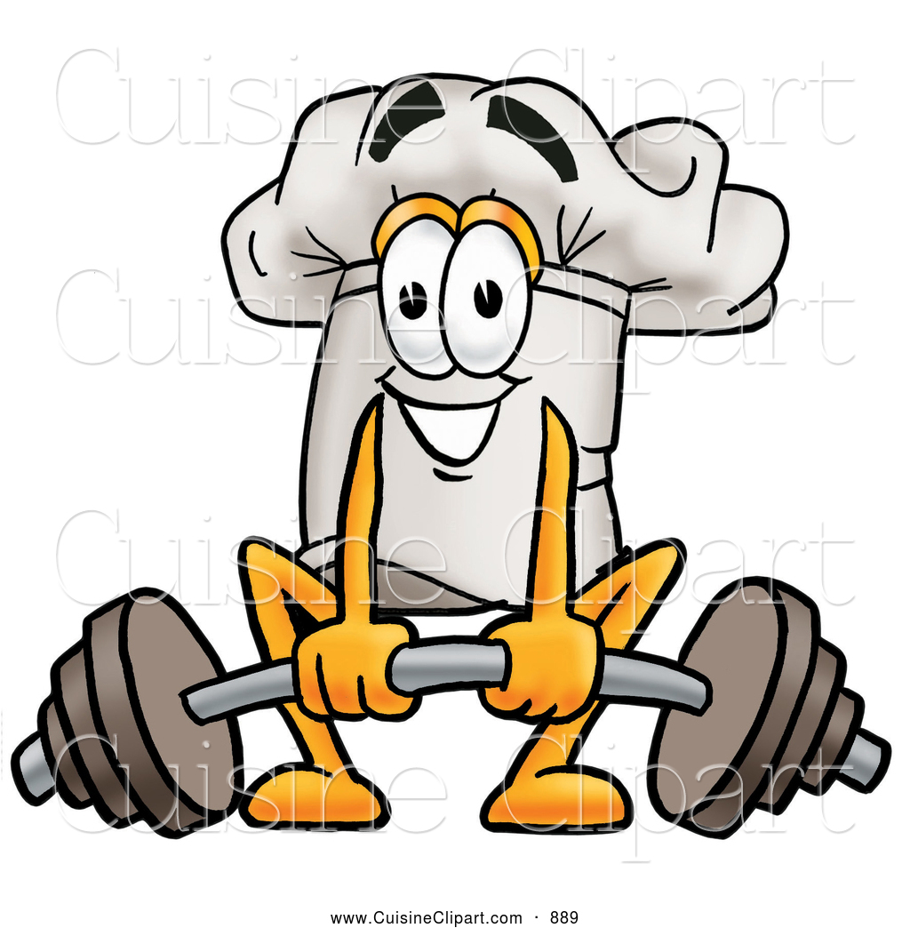 Cuisine of a smiling. Barbell clipart cartoon