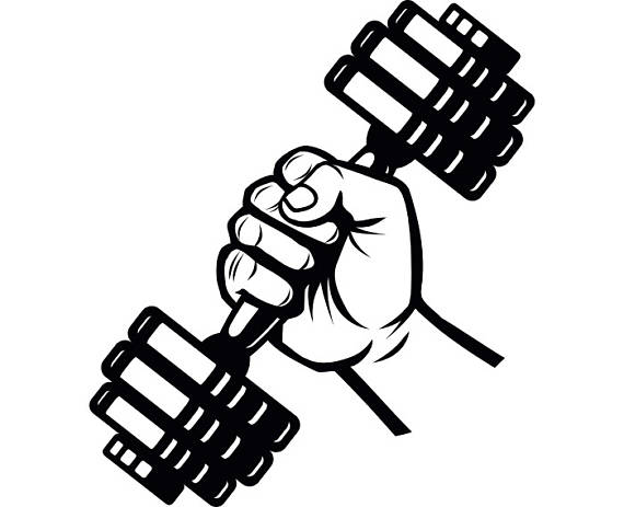 Barbell clipart drawing. Dumbbell hand weightlifting bodybuilding