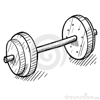 Barbell clipart drawing. Doodle style or panda