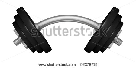 Bent logo one dumbbell. Barbell clipart drawing