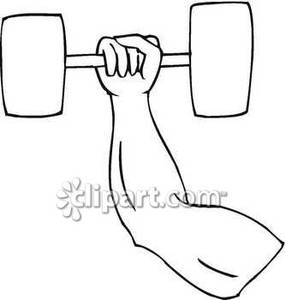 Barbell clipart drawing. An arm lifting a