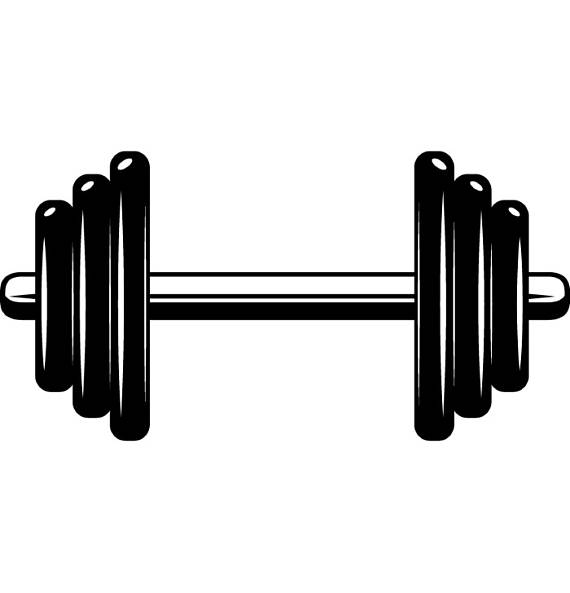 Weightlifting bodybuilding fitness workout. Dumbbell clipart