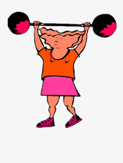 Athlete of the material. Barbell clipart female