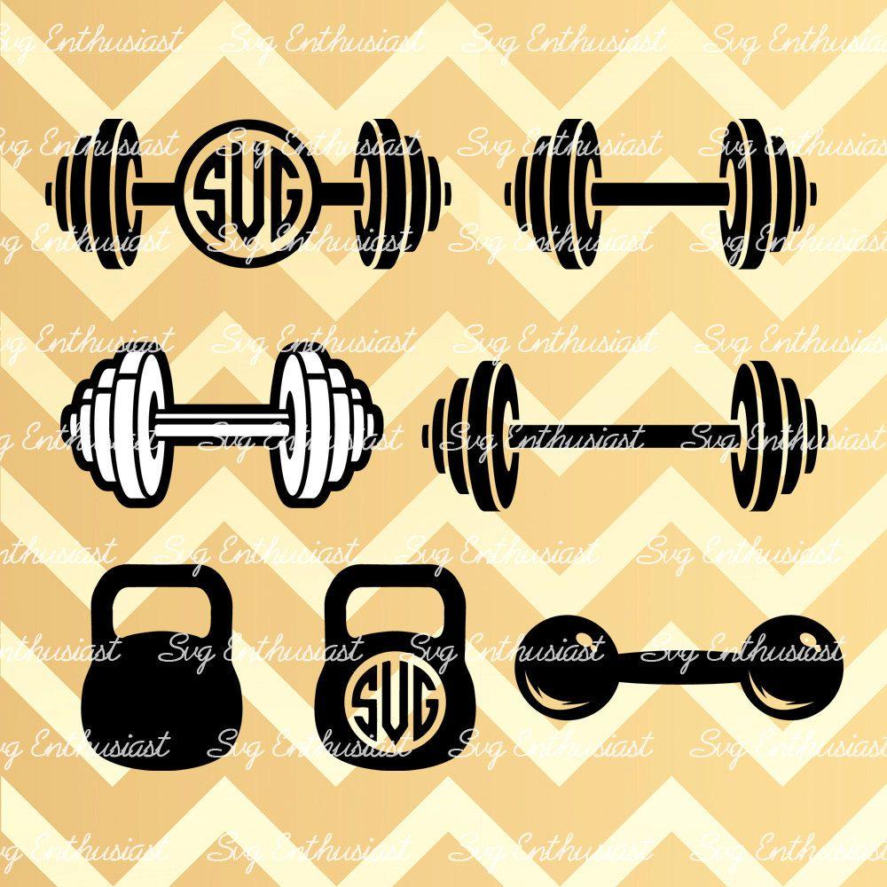 Weights svg kettlebell monogram. Dumbbells clipart barbell crossfit