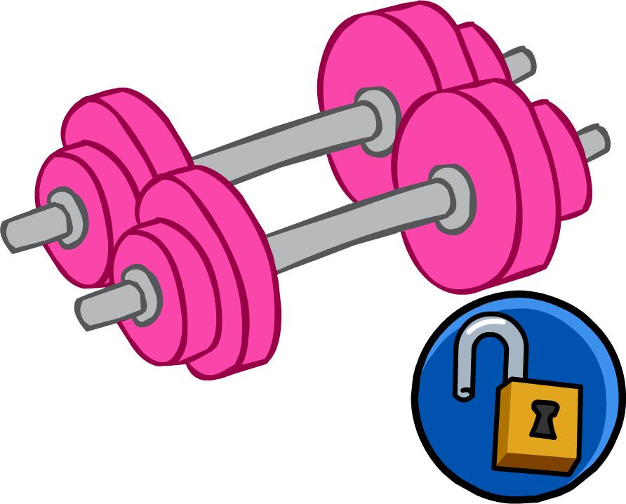 Dumbbells clipart cartoon. Pink hand weights club
