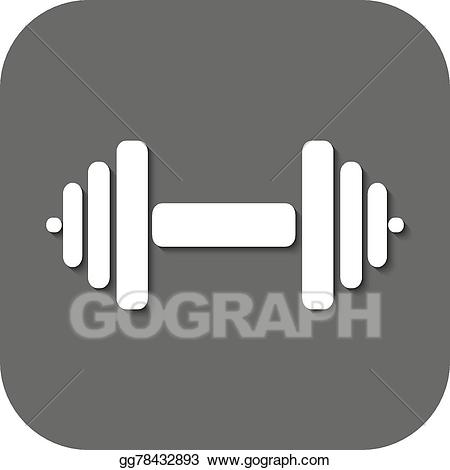 Barbell clipart icon. Vector the dumbbell symbol