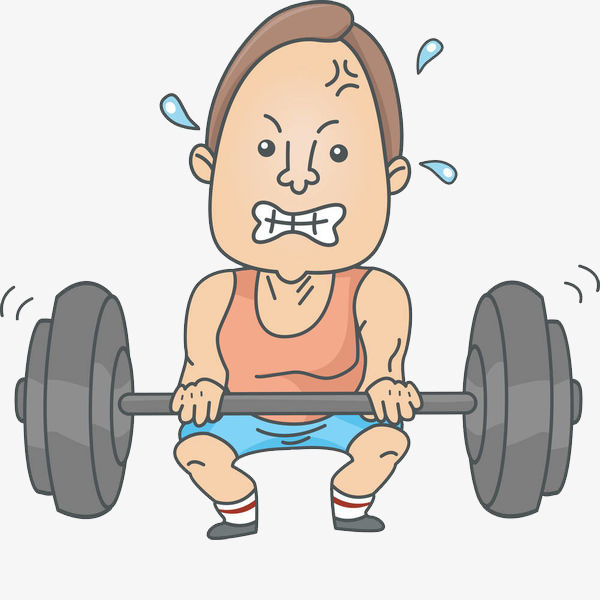 A sweating man difficulty. Barbell clipart powerlifting