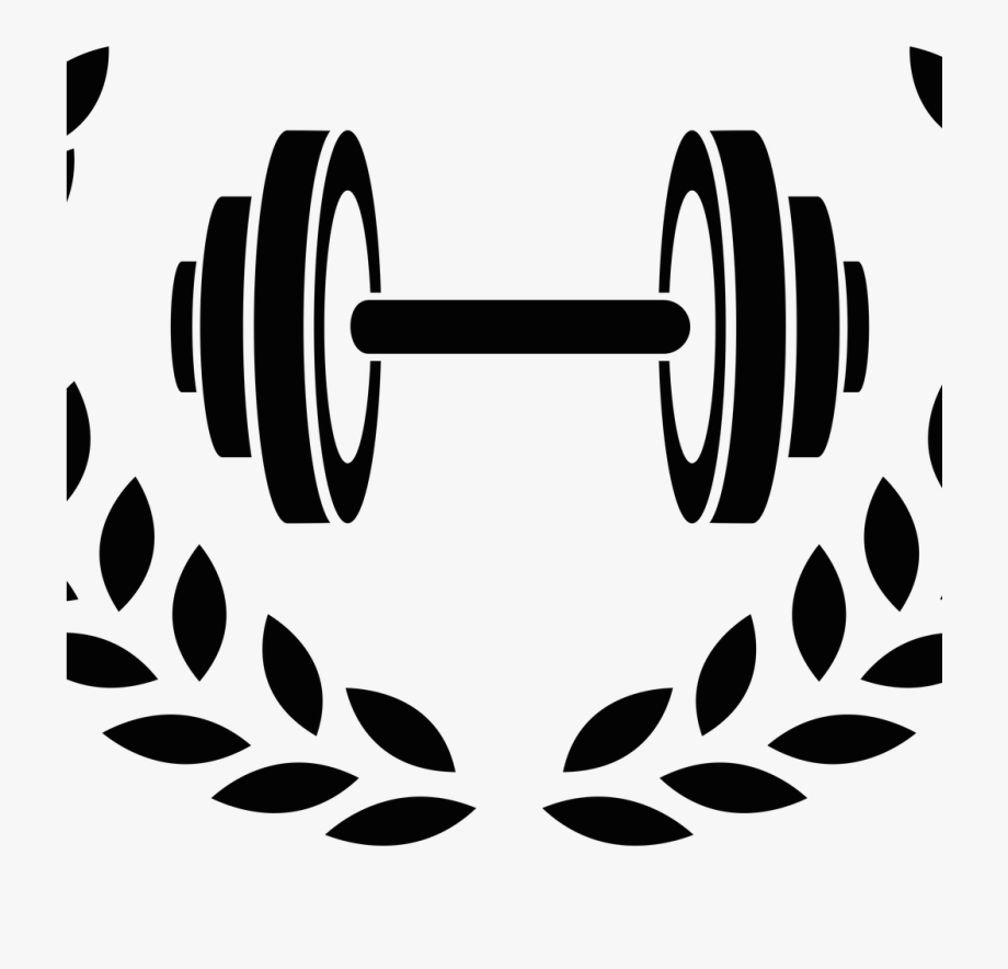 Beauty beast logo couple. Dumbbell clipart powerlifting