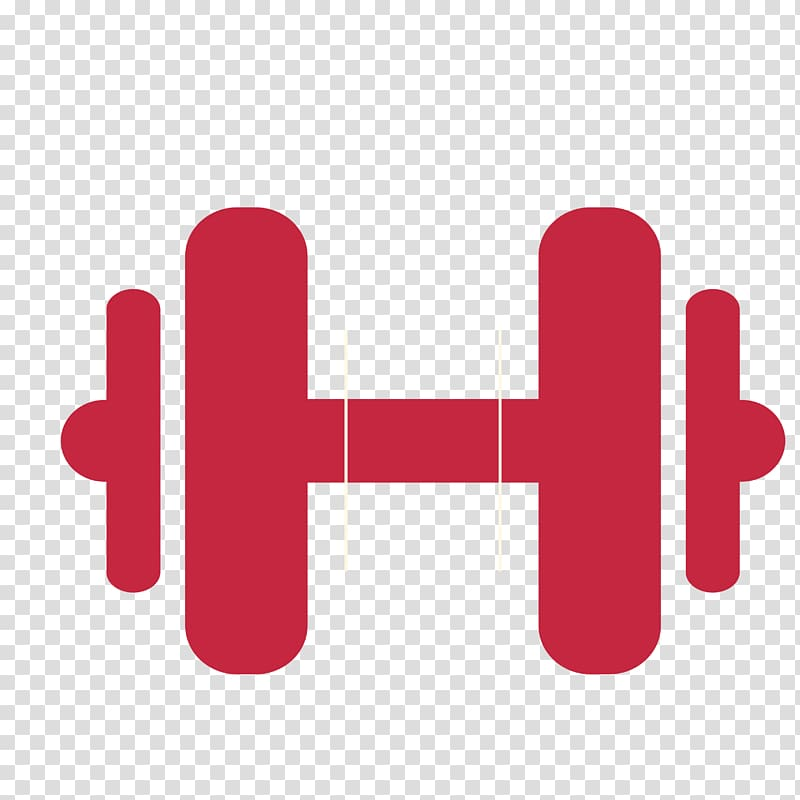 Physical fitness barbell weight. Dumbbell clipart red