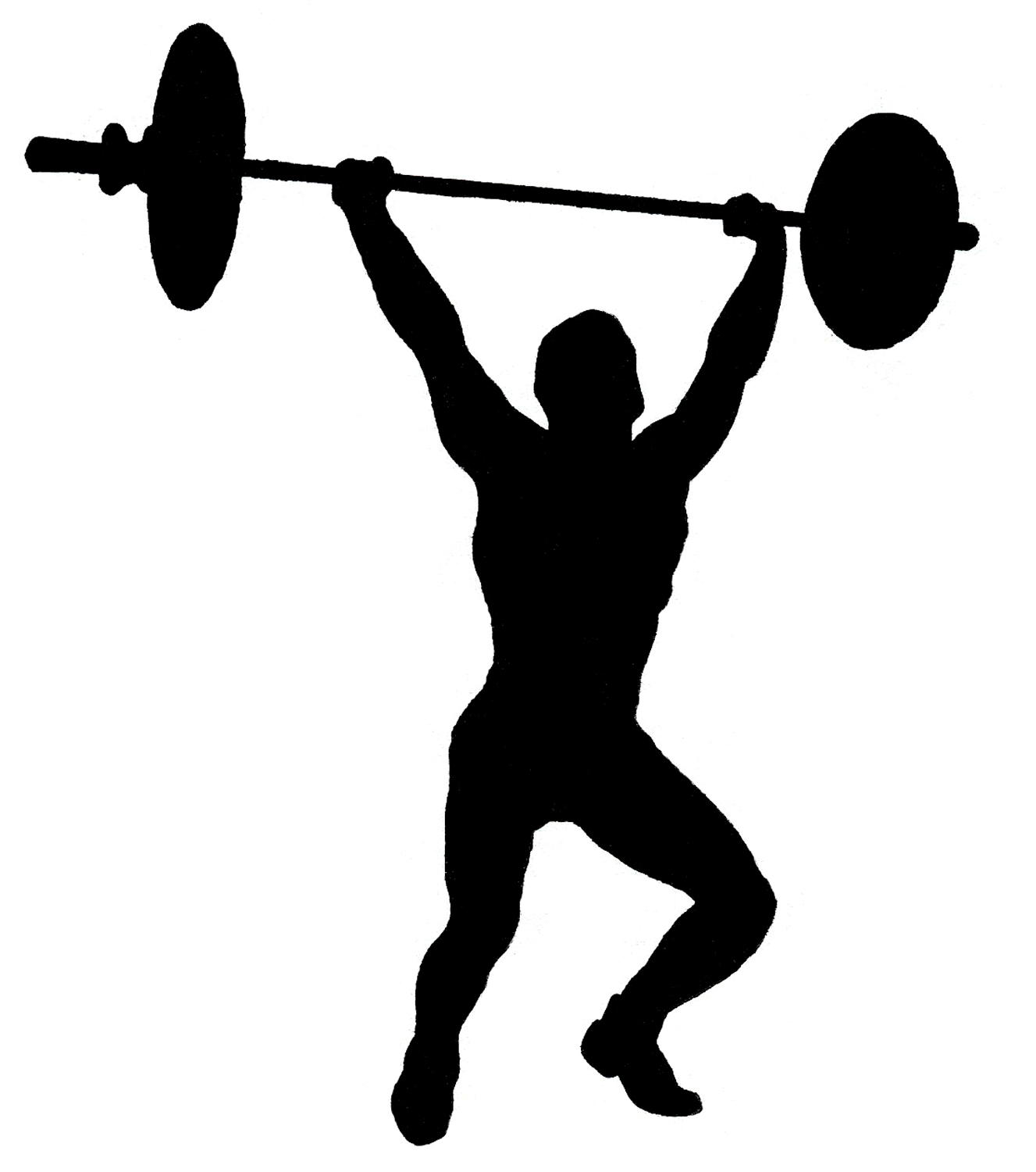 Barbell clipart silhouette. Vintage image circus strong