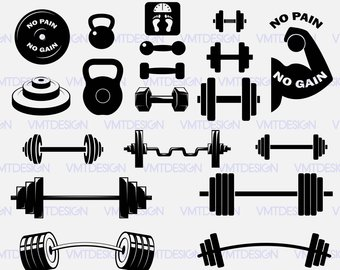 Svg file etsy dumbell. Barbell clipart silhouette