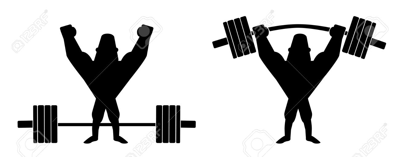 Barbell clipart silhouette. Sportsman lifting heavy station