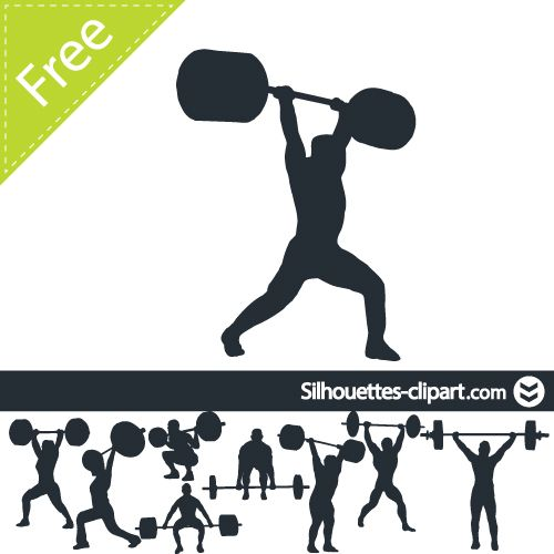 Weight lifting vector silhouettes. Barbell clipart silhouette