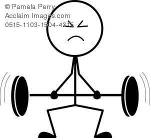 Clip art image of. Barbell clipart stick figure