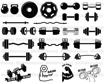 Dumbell etsy fitness digital. Barbell clipart svg