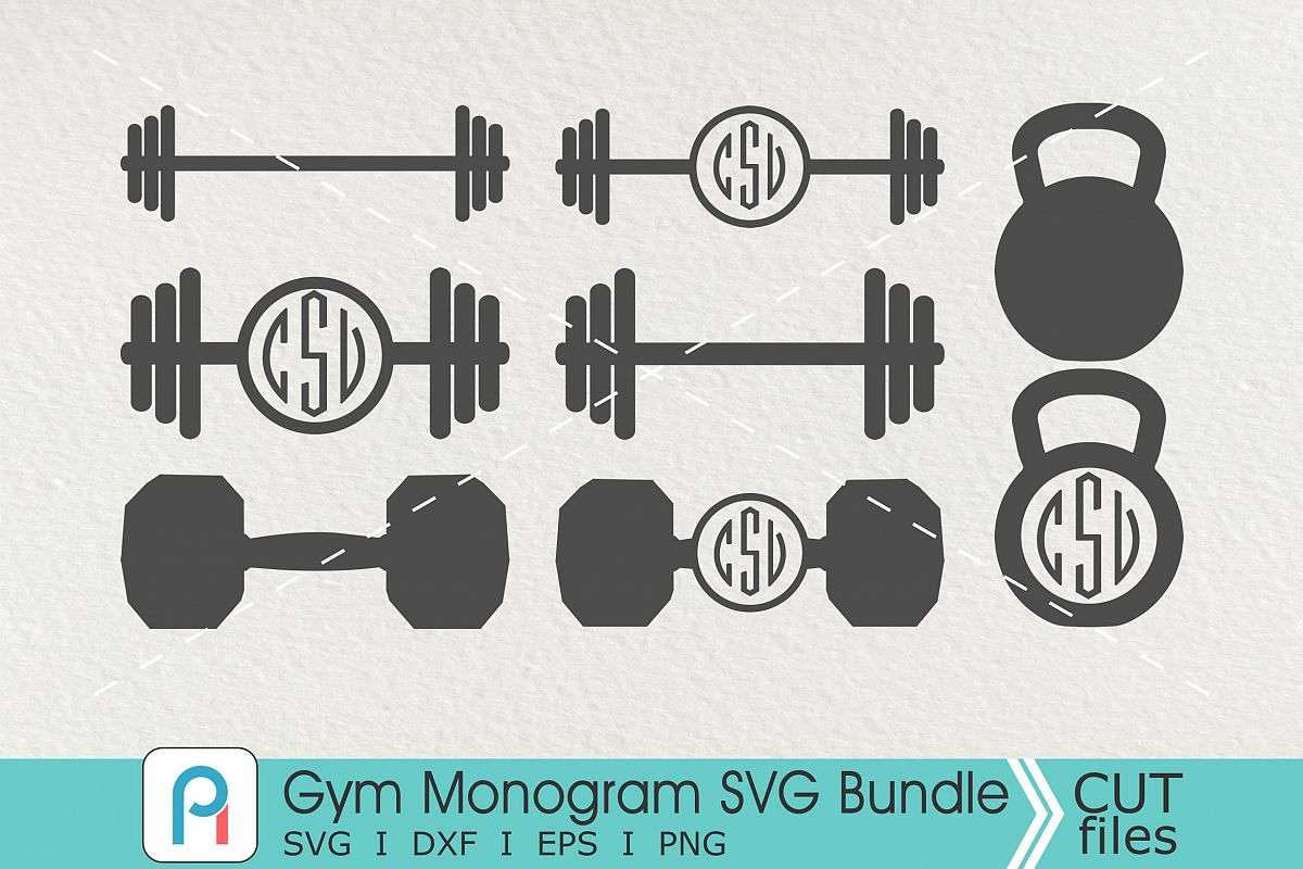 Barbell clipart svg. Gym monogram