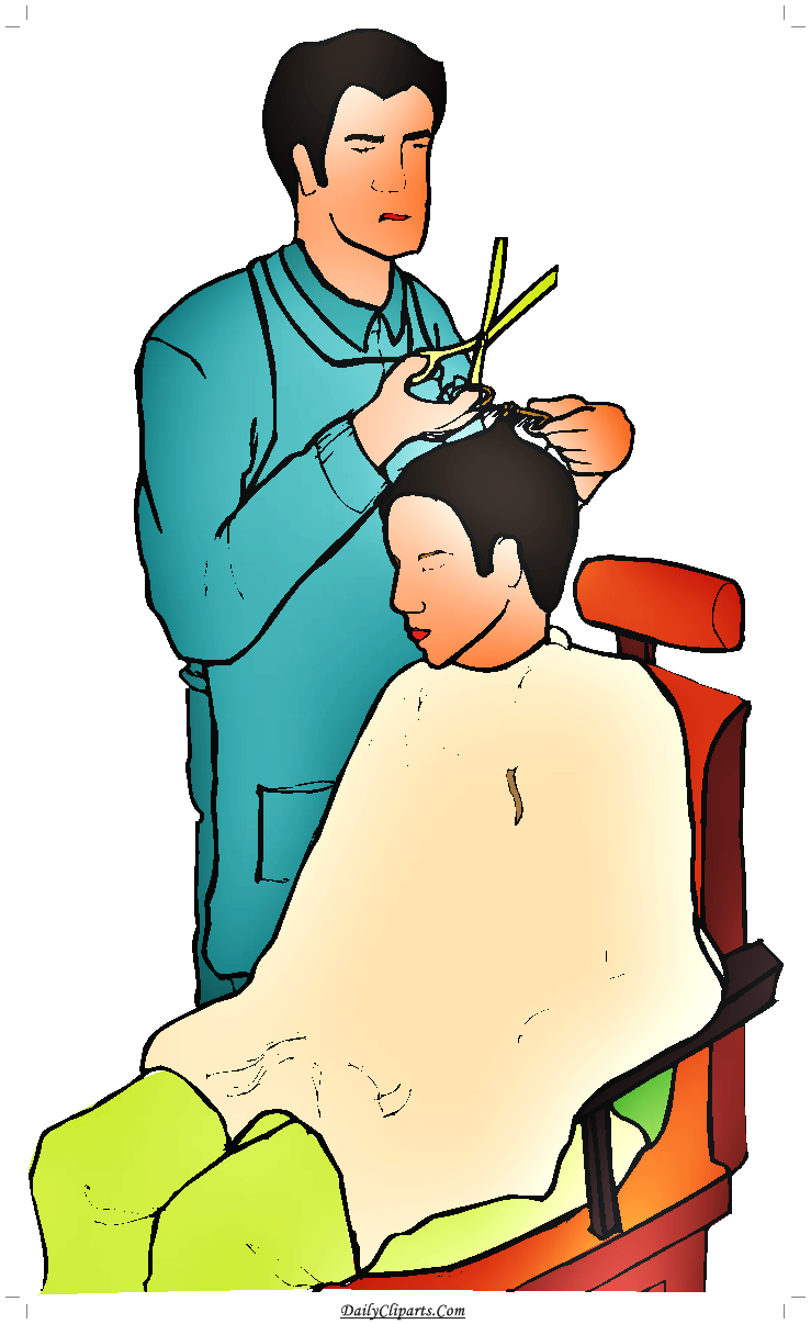 Barber clipart. Cutting hair saloon image