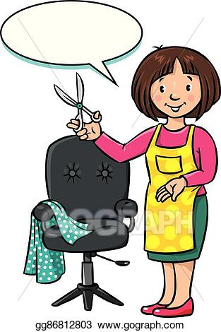 Barber clipart. Eps vector funny hairdresser