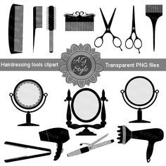 Barber clipart accessory. Vintage hair tools hairdressing