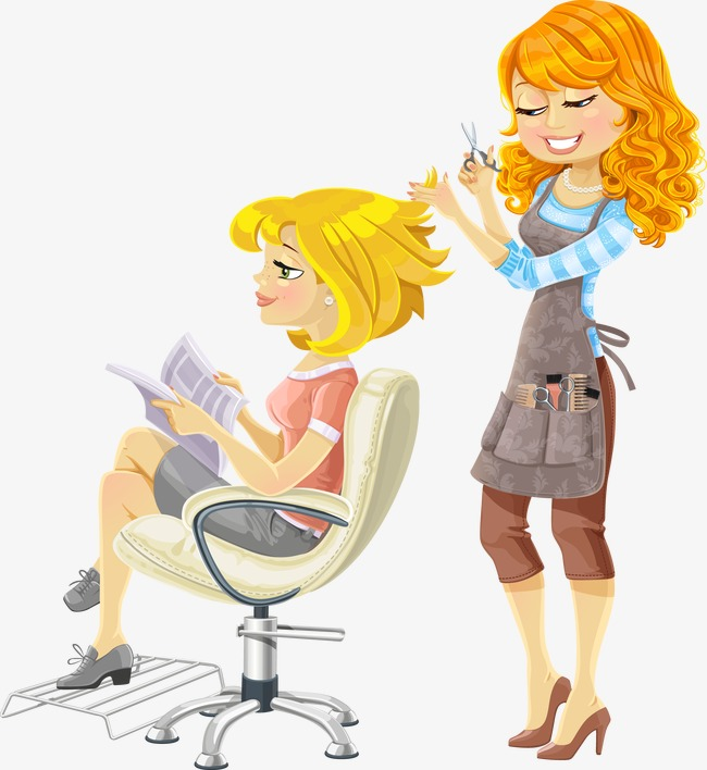 Barber clipart animated. Hand painted beauty hairdresser