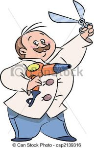 Funny cartoon holding scissors. Barber clipart animated