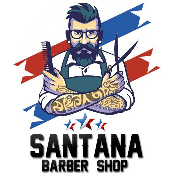 Santana shop logo on. Barber clipart baber