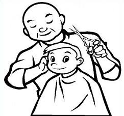 Barber station . Haircut clipart black and white