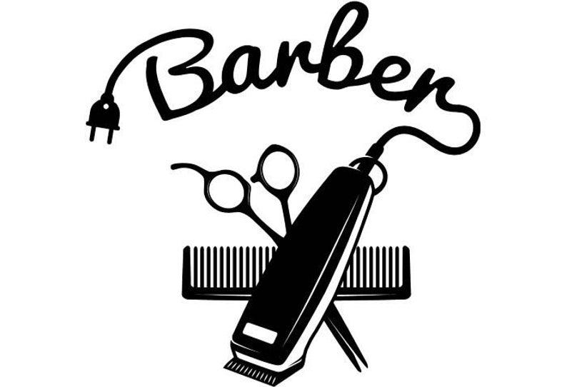 Logo salon shop hair. Barber clipart boy haircut