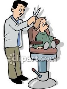Small getting his first. Barber clipart boy haircut