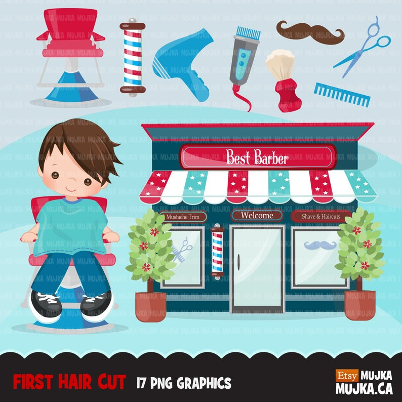 Hair styling my first. Barber clipart boy haircut