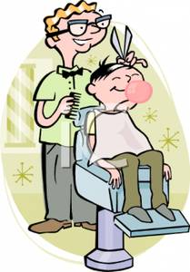 Barber clipart boy haircut. Cartoon of a giving