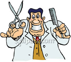 Crazed holding shears and. Barber clipart cartoon