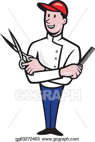 Barber clipart cartoon. Vector stock comb and