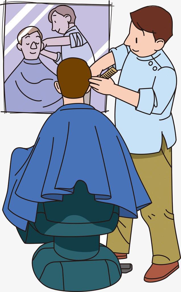 Shop haircut two men. Barber clipart cartoon