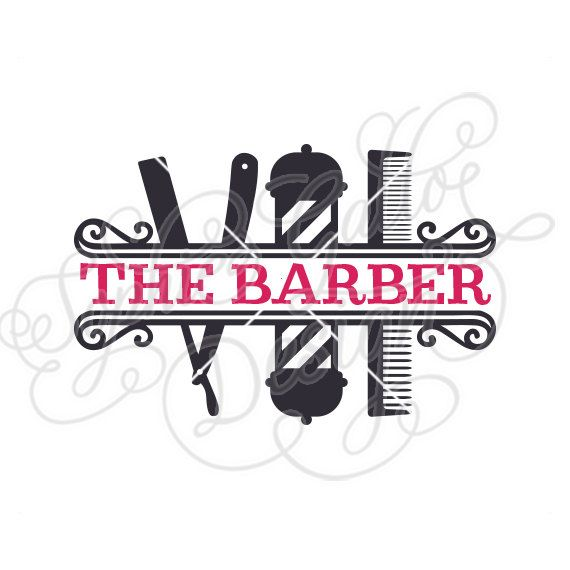 Shop split monogram cut. Barber clipart file