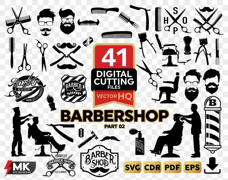 Barbershop svg bundle silhouette. Barber clipart file