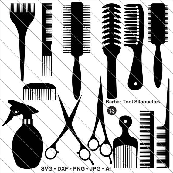 Tool silhouettes svg hair. Barber clipart file