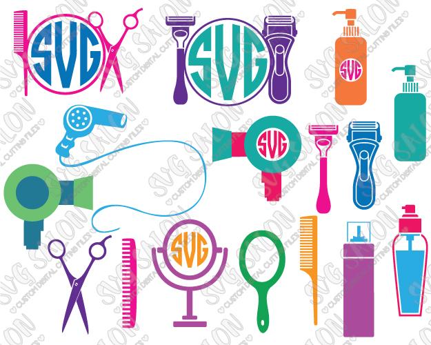 Barber clipart file. Hairdresser monogram frame custom