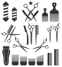Barber clipart instruments. Tools for haircut black