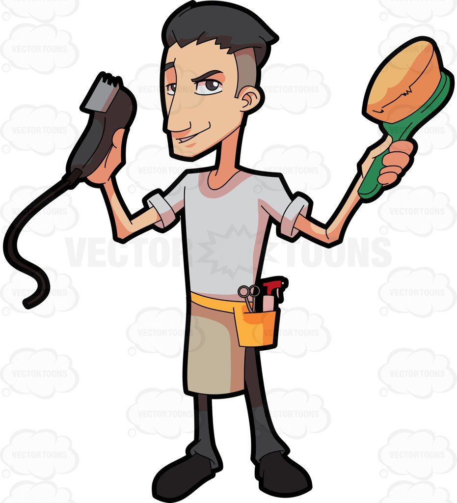 A showing off his. Barber clipart instruments