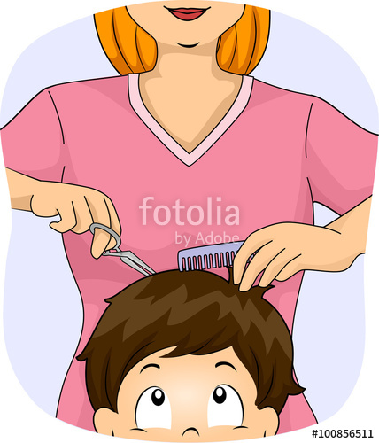 Barber clipart kid. Boy hair cut stock