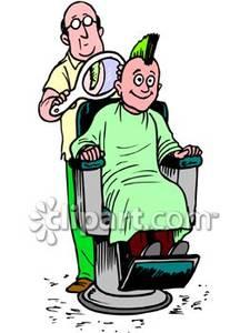 Barber clipart kid. Giving a boy mohawk
