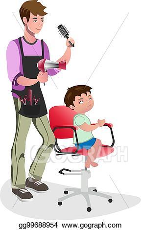 Vector illustration children with. Barber clipart kid