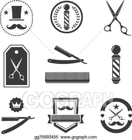 Barber clipart logo. Eps vector shop labels
