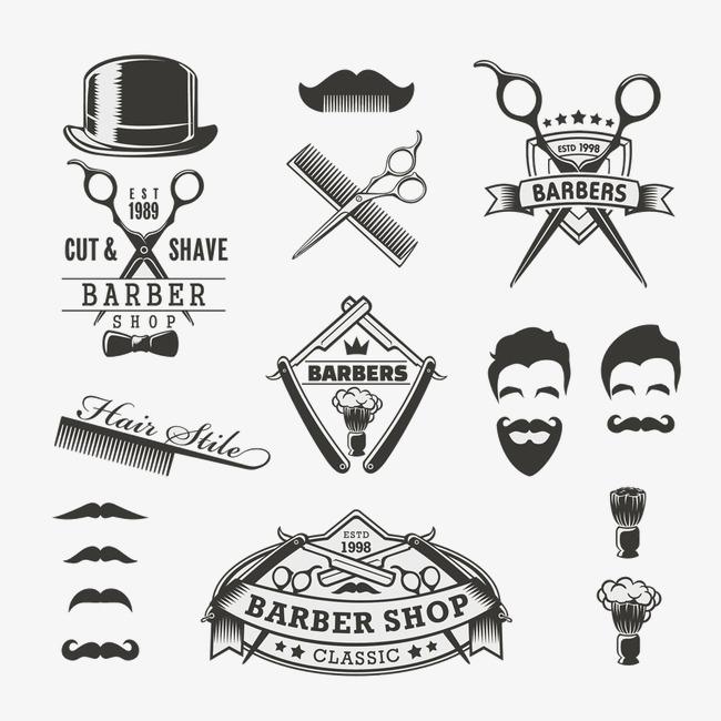 Black and white men. Barber clipart logo